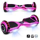 """6.5"""" inch Chrome Hoverboard Electric Smart Self Balancing Scooter with Built-in Speaker LED Wheels and LED Side Lights- UL2272 Certified (Pink)"""