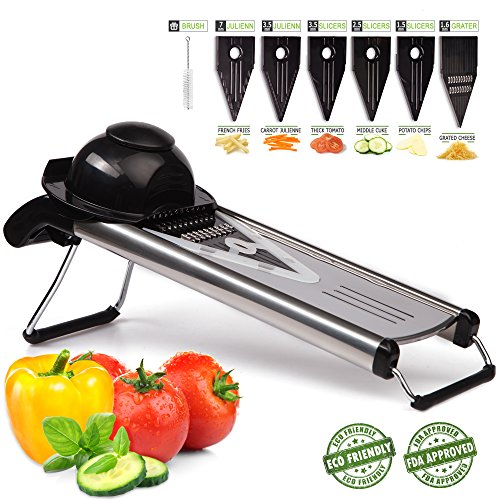 Mandoline Slicer 6 in 1 is made of premium quality stainless steel, vegetable slicer has very sharp stainless steel blades which do not require sharpening