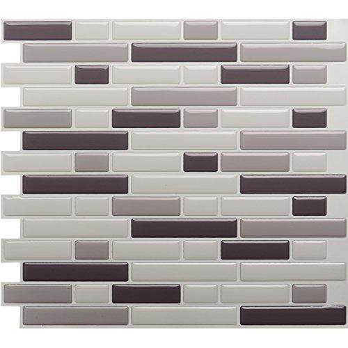 Dimensions Glass Tile Mosaics (Easy Peel & Stick 3D Mosaic Tile. Set of 4 Tile Sheets. 3.13 sf. WM-102C)