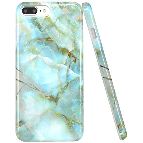 JAHOLAN Green Jade Marble Design Clear Bumper TPU Soft Rubber Silicone Cover Phone Case Compatible with iPhone 7 Plus/iPhone 8 Plus