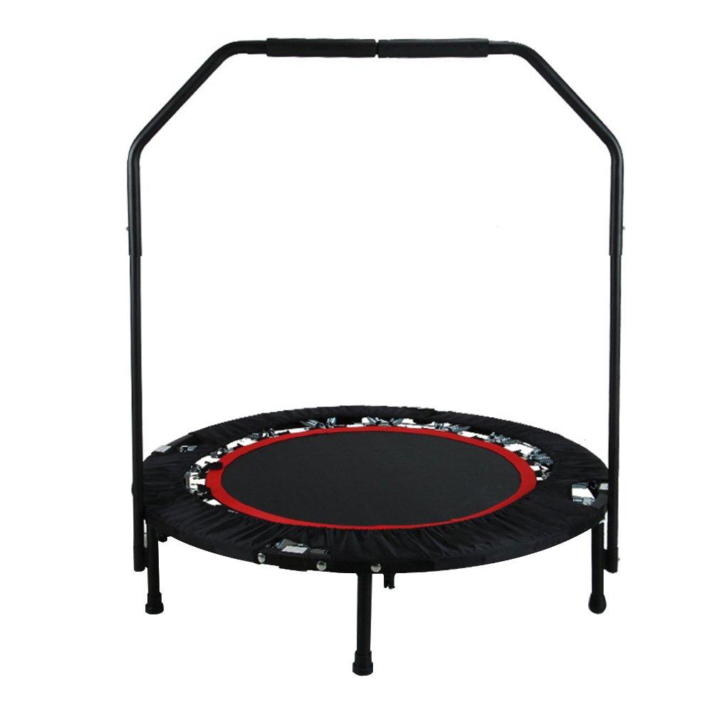 TOPQSC Fitness Trampolin Sport Indoor Jumper Faltbare Jumping Bed mit Haltgriff Home Trampolin belastbar bis 300 Pfund Schwarz