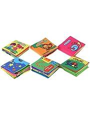 RuleaxAsi Baby's First كتاب قماش غير سام 6 قطع قابل للغسل لينة كتاب القماش كتاب التعليم المبكر لعبة ذكية للرضع والأطفال الصغار التعلم