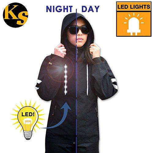KwikSafety LED Black Hoodie Long Sleeve Waterproof Windbreaker | Outdoor Lightweight Reflective Jacket | Men Women Cycling Running Motorcycle Sports Exercise Active Wear | X-Large
