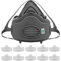 Pomya Media máscara, Máscara de protección respiratoria Anti PM2.5 Filtro de gas Respirador Máscara de polvo Media máscara sin mantenimiento adecuada para minería, fundición(Máscara y filtro)