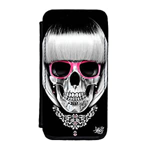 Lady Skull 01 Premium Faux PU Leather Case, Protective Hard Cover Flip Case for iPhone 5C by Gangtoyz