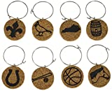 Cork Wine Glass Charms (20+ Unique Designs) - Set of 8 Kentucky Inspired Designs: Horse, Bourbon Barrel, Bat, Fleur Di Lis, Cardinal, State, Horseshoe, Basketball - Tags to Mark Drink (Kentucky)