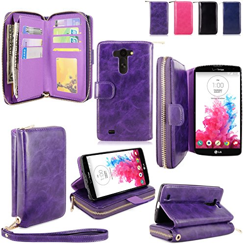 For LG G Vista Case - Cellularvilla Pu Leather flip Wallet Bag Pouch Case with Credit Card Slots Pockets Cover For LG G Vista VS880 (Verizon / AT&T) (Purple1)