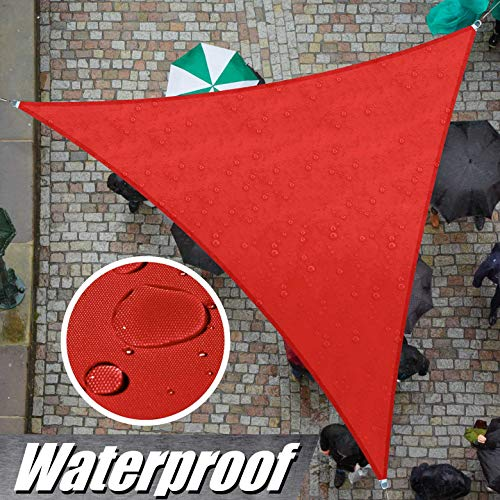 ColourTree 12' x 12' x 12' Red Triangle Waterproof Sun Shade Sail Canopy Awning Shelter Fabric Screen, 95% UV Blockage UV & Water Resistant, for Outdoor Patio Garden Carport (We Make Custom Size)