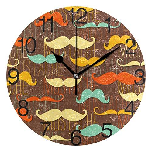 senya Retro Moustache Design Round Wall Clock, Silent Non Ticking Oil Painting Decorative for Home Office School Clock -