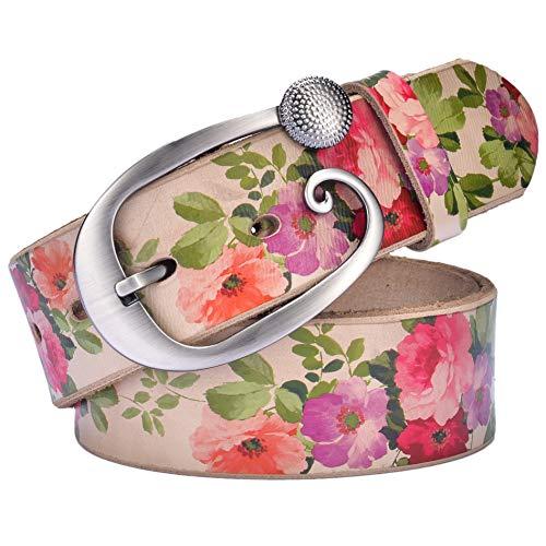 Ayli Women's Rose Flower Handcrafted Metal Buckle Genuine Leather Jean Belt, Free Gift Box, Rose Print, Fits Waist 26