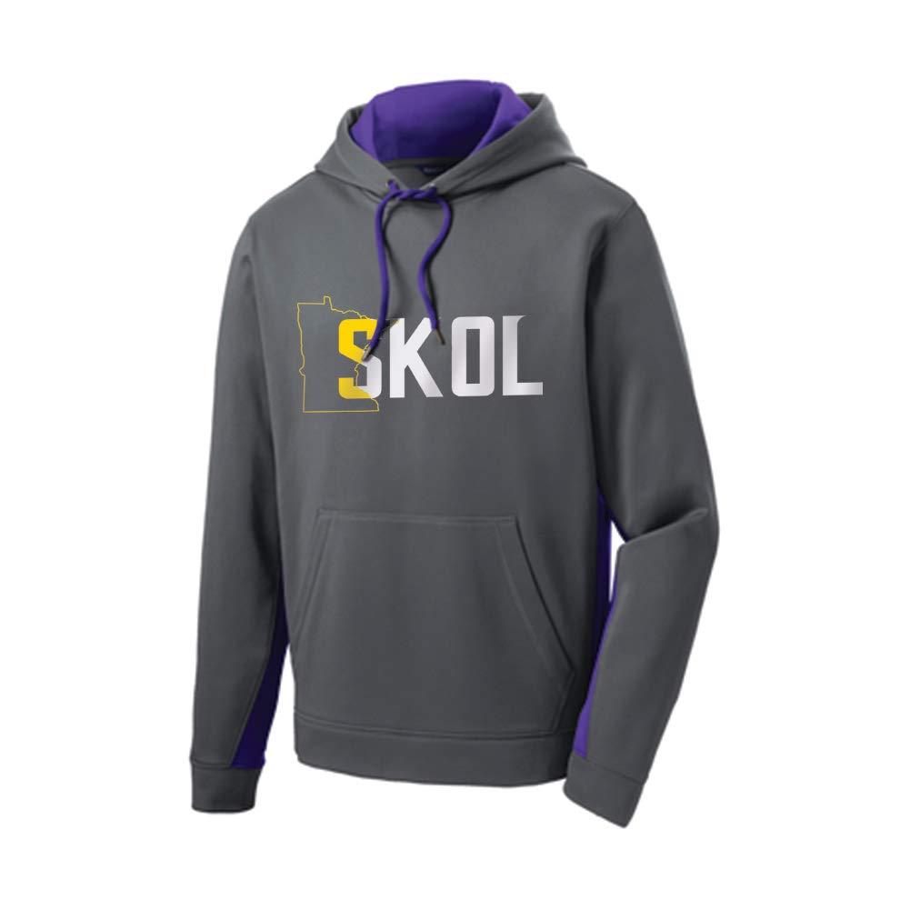 The Teehive SKOL Fleece Colorblock Hoodie Dark Smoke Grey/Purple Adult Small by The Teehive