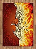 Orange Decor Area Rug by Ambesonne, Decorative Illustration of Flying Phoenix Bird in Burning Flame Print, Flat Woven Accent Rug for Living Room Bedroom Dining Room, 5.2 x 7.5 FT, Orange Dark Orange