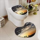 Analisahome Heart shaped foot pad 2 Pieces Set Camel caravan silhouette through the sand dunes lead nose at Thar Desert India in Bathroom toilet Mats