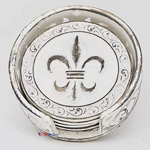 Antiqued White Fleur De Lis FDL Scrolls 4 Coaster Set Kitchen/Bar Decoration