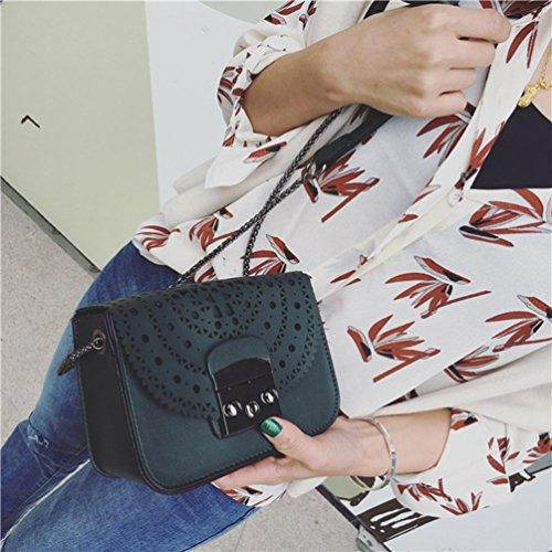 Diseño Flores de de YAANCUNN Mujeres Pequeña Verde Oscuro Bolso Mano Bolsa Huecas qCUn74w