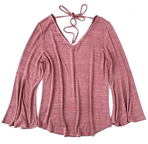Ann Taylor V-neck Sweater (Ann Taylor LOFT Women's - Spacedye Bell Sweater Tee (X-Large, Pink))