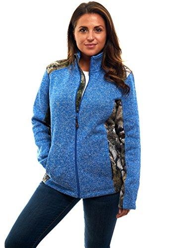 Novelty Knit Jacket - TrailCrest Mossy Oak Women's Zip Up Knit Sweater Fleece Jacket
