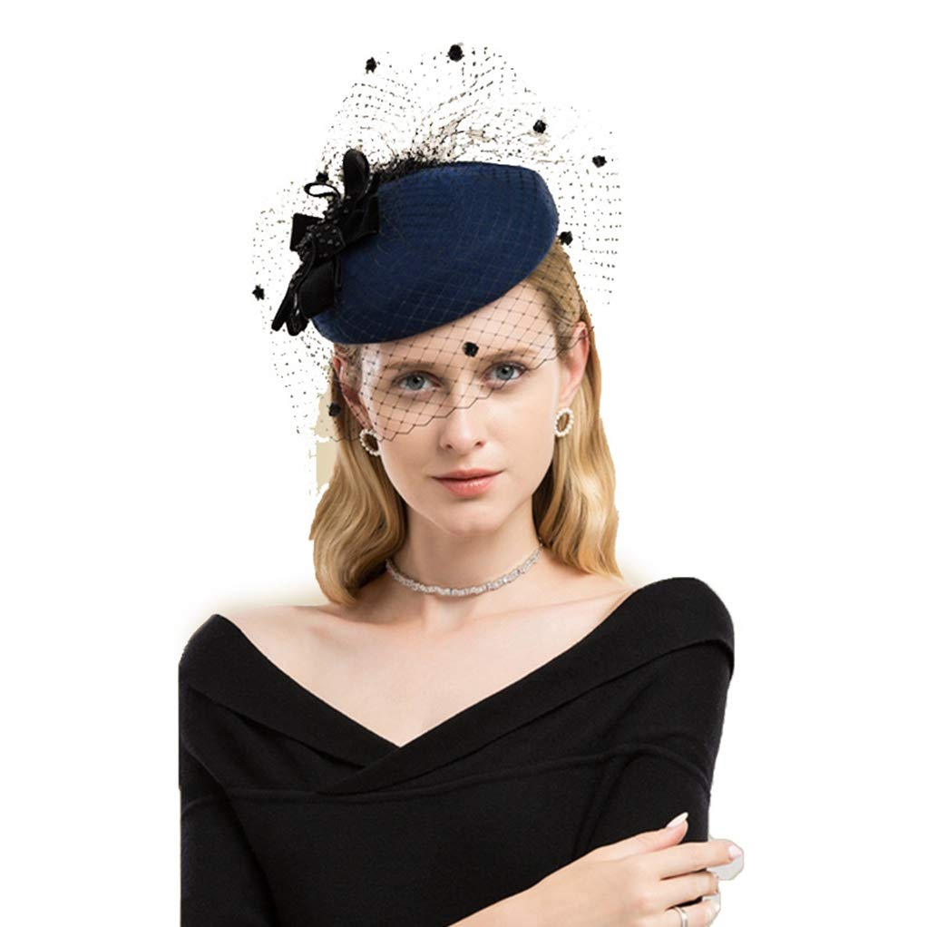 bluee Giles Jones Women Fascinator Hair Clip Feather Fascinator Hat Wedding Cocktail Party Tea Hat