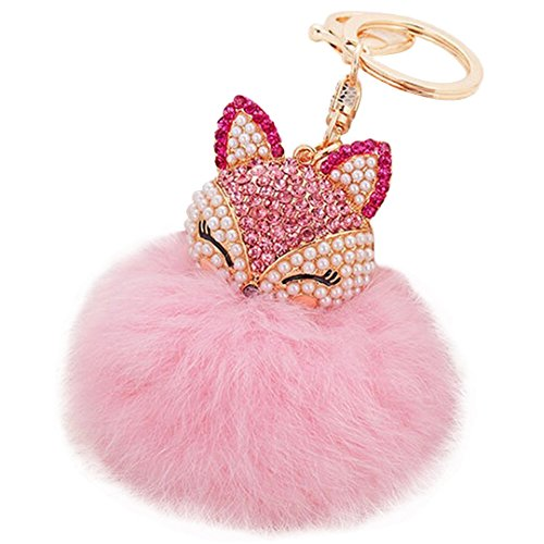 (Fox Fur Ball with Fox Head Inlay Pearl Rhinestone Keychain Bag Key Ring Car Accessory)