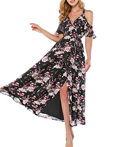 Azalosie Women Wrap Maxi Dress Floral Cami Spaghetti Stap Ruffle Cold Shoulder Tie Flowy Summer Beach Party Wedding Dress