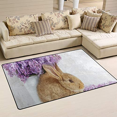 Minalo Non-Slip Area Rugs,Photo of Beautiful Rabbit with Lilac Flowers and Easter Eggs Spring Season,Floor Mat Living Room Bedroom Dinning Kitchen Carpets Doormats 4 x5