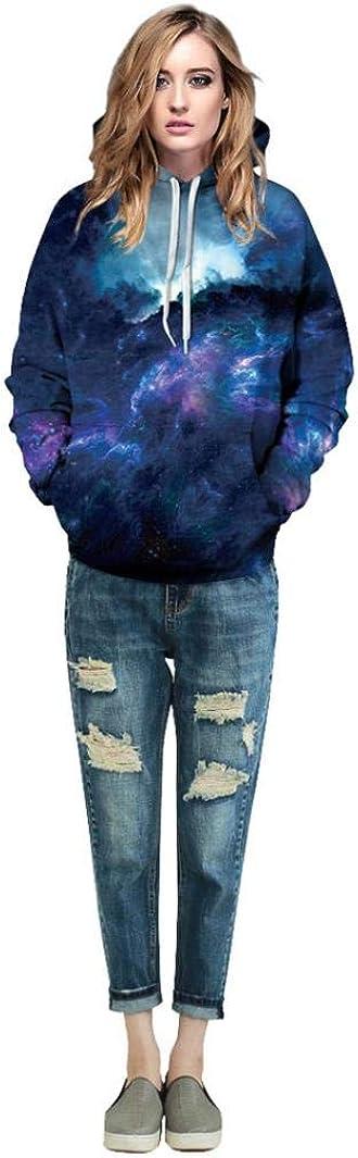 DIGOOD Long Sleeve 3D Starry Print Stretch Autumn Hoodies Men Women,Hooded Sweatshirt Tops His Hers Clothes