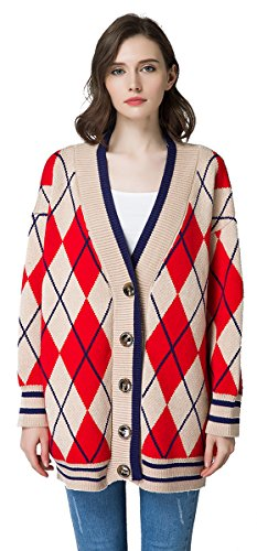 KUBITU Womens Casual V Neck Button Down Check Pattern Long Sleeves Cardigan Sweater Plus Size Medium Red and Beige