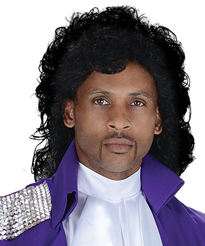 UHC Men's Purple Rain Pop Singer Prince Wig Adult Halloween Costume Accessory