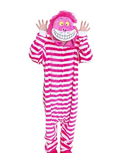 Unisex Adult Cheshire Cat Kigurumi Costume Anime Stripe Homewear L