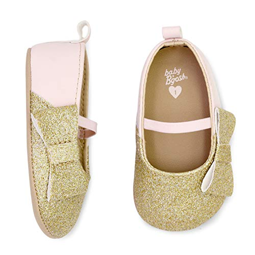 OshKosh B'Gosh Girls Glitter Bow Mary Jane Shoes Flat, Tan, 6-9 Months]()