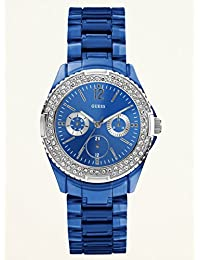 Guess Womens Classic Hi-Energy Multifunction Crystal Accented Blue Plastic Bracelet Watch U0062L1