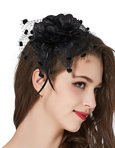 [Girls Tea Party Derby Fascinator Hat Bridal Headpiece 20s Feather Flower Veil Headband] (Black Bridal Veil Costume)