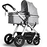 Newborn Baby Stroller Pram Stroller Folding Convertible Carriage Luxury Bassinet Seat Infant Pushchair with Foot Muff(Grey)