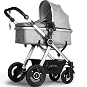Newborn Baby Stroller by Cynebaby – Converts from Luxury Bassinet Seat to Infant Pushchair – Grey