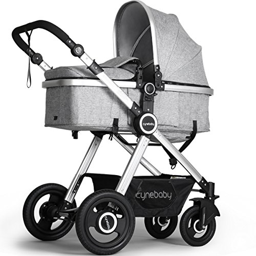 Newborn Baby Stroller by Cynebaby – Converts from Luxury Bassinet Seat to Infant Pushchair – (Newborn Inflation System)