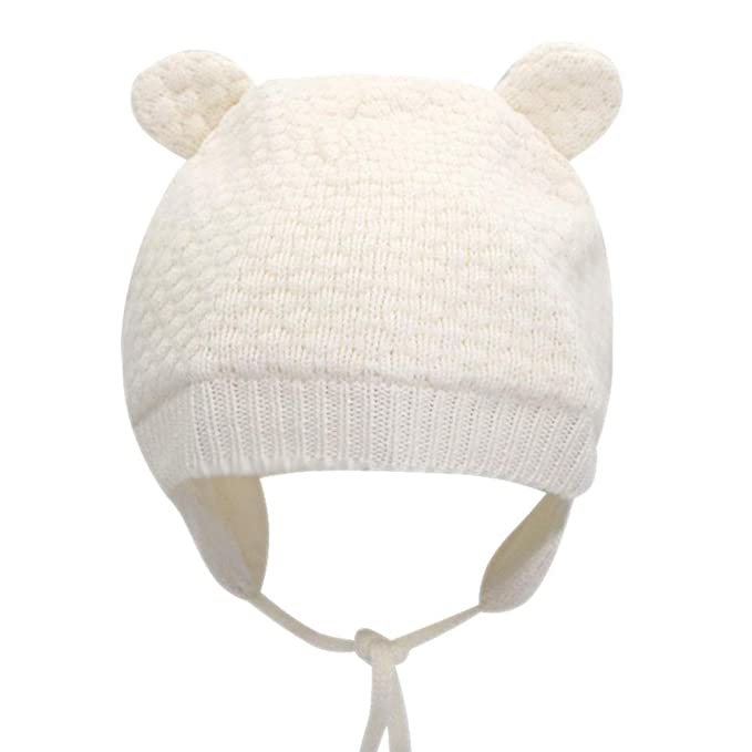 6302acedc22 Image Unavailable. Image not available for. Color  IMLECK Baby Soft Warm  Fall Winter Knit Wool Hat Cute Bear Toddler ...