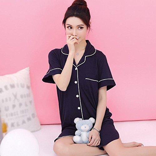 a sciolto sexy UN Sleeping femminile maniche colore da cotone di pigiama dolce dress in notte AN corte solido XL camicia estate casual sottile B6IqwwR