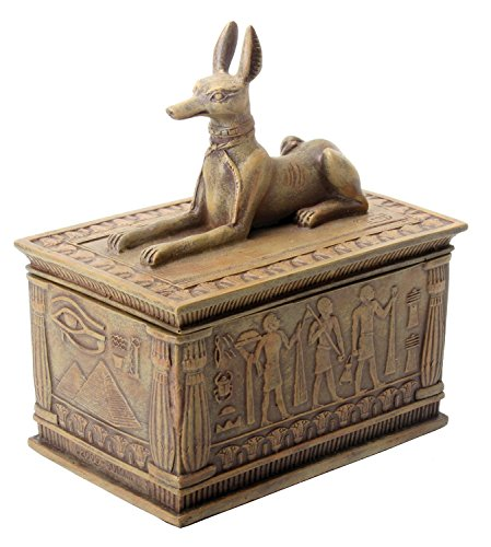 SUMMIT BY WHITE MOUNTAIN Sandstone Colored Anubis Box with Egyptian Detail Bottom Designs -