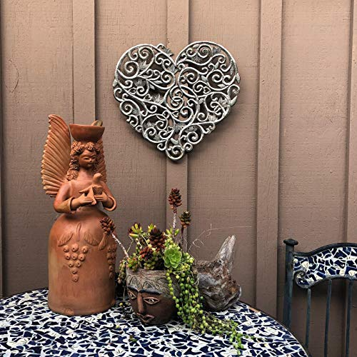 Haitian Metal Heart Wall Decor, Decoration of Love and Friendship Wall Hanging Plaques, Tree, Peace, Handmade in Haiti,16 in. x 15 in. (Heart with Swirls)