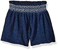 Flapdoodles Baby Girls Knit Short with Smocked Waist Band, Navy, 12 Months