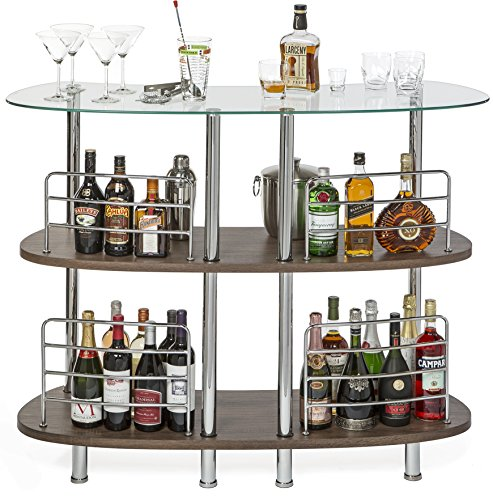 Mango Steam Contemporary Modern Home Entertainment Liquor Bar Catalina Table, Tempered Glass And Wood