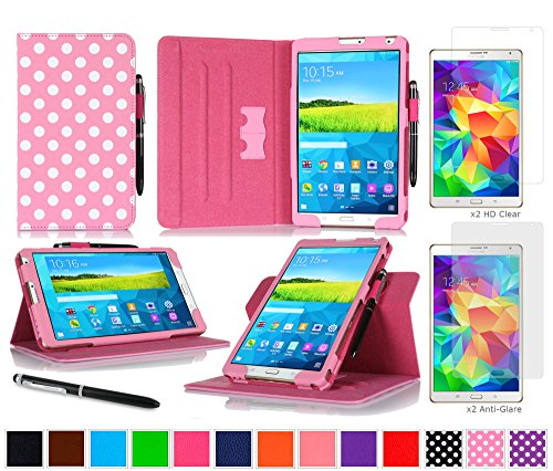 """Galaxy Tab S 8.4"""" Case Bundle, roocase Dual View Folio Case Smart Cover Bundle with 4-Pack (2 Matte & 2 HD) Screen Protector for Samsung Galaxy Tab S 8.4 (Supports Sleep/Wake Feature), Polkadot Pink"""