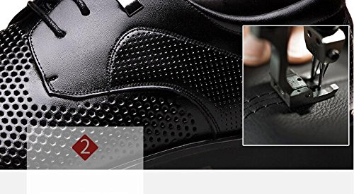 Koyi Openwork Business Breathable Lederschuhe Männer Sommerkleid Sandalen Business Openwork Casual Schnürschuhe schwarz 791fcb