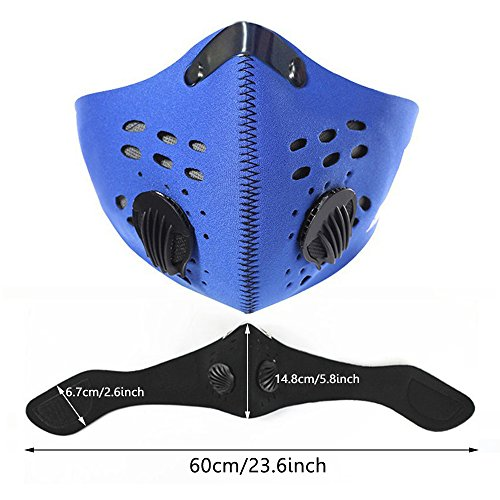 Meanhoo Bike Cycling Anti-dust Half Face Mask with Filter Neoprene Size L Blue