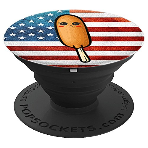 US Flag Corn Dog Funny Pronto Pup Mobile Accessory Patriotic - PopSockets Grip and Stand for Phones and Tablets