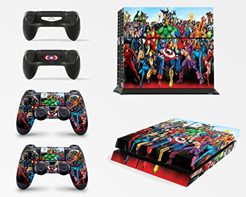 Gizmoz n Gadgetz GNG Superhero Skins for PS4 Playstation 4 Console Decal Vinal Sticker + 2 Controller Set