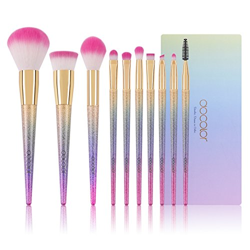 Docolor Makeup Brushes,10Pcs Fantasy Make Up Brushes Face Powder Foundation Blending Blush Concealer Eye Shadow Cosmetics Brushes with Rainbow Box