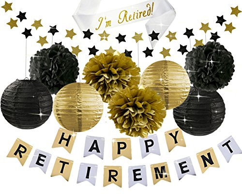 Retirement Party Decorations HAPPY RETIREMENT Banner with Retired Sash Black Grey Gold Tissue Pom Pom Paper Lanterns Retirement Party Supplies Retirement Decorations (Retirement Party Decorations)