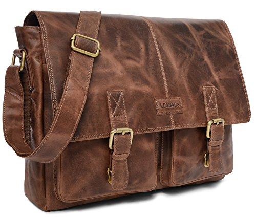 LEABAGS Cambridge bolso bandolera de auténtico cuero búfalo en el estilo vintage - NuezMoscada CrazyVinkat