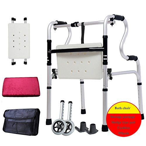 ZXQQQ Walker for Seniors with Seat Folding Slides Rolling Ultra Walkers with Wheels Bag and Hand Grip Lightweight Bath Chair for Man and Woman Silver